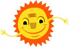 Smiling sun with hands Royalty Free Stock Image