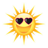 SMILING SUN. With heart shaped sunglasses on isolated white backgroun royalty free stock images