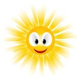 Smiling sun icon. On white Stock Photo