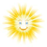 Smiling sun icon. On white Stock Images