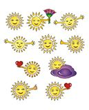 Smiling sun - icons, smileys. 10 pictures of positive, joyful emotions. Web vector icons, graphics Royalty Free Stock Photo