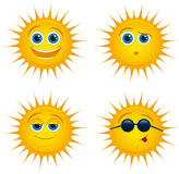 Smiling sun icons with sunglasses Royalty Free Stock Photo