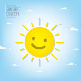 Smiling sun illuminating the sky during the day vector. Stock Image