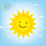 Smiling sun illuminating the sky during the day vector. Royalty Free Stock Photos