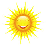 Smiling sun isolated on white background Royalty Free Stock Image