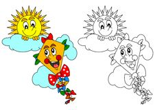 Smiling sun and the kite as a coloring for kids - illustration. Smiling sun on a cloudless and kite as a coloring for kids - illustration Stock Image