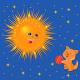 Sun And Kitten With A Ball Royalty Free Stock Image