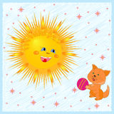 Sun And Kitten Royalty Free Stock Image