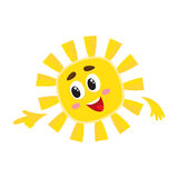 Smiling sun pointing to something with its finger, vector illustration. Smiling sun pointing to something with its finger, cartoon vector illustration isolated Royalty Free Stock Photos