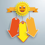 Smiling Sun 3 Price Sticker Arrows Stock Photography