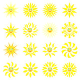 Smiling sun with rays of different shapes. Set of 16 icons on a white background. Vector image in a cartoon style.  Vector Illustration