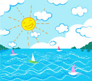 Smiling sun and seascape vector chalk draw style Stock Photography