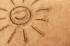 Summer beach smiling sun sand copy space Royalty Free Stock Images