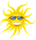 Smiling sun with sunglasses Royalty Free Stock Images