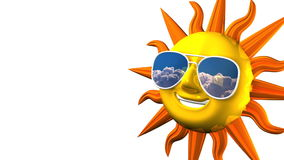 Smiling Sun With Sunglasses On White Text Space stock video footage