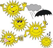 Smiling sun symbol cartoon Royalty Free Stock Images