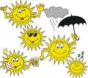 Smiling sun symbol cartoon. Cartoon of smiling sun faces waving, winking, holding umbrella and sweating Royalty Free Stock Images