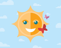 Smiling sun and two butterflies on the sky with Stock Photography