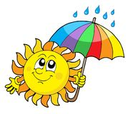 Smiling Sun with umbrella Royalty Free Stock Photography