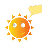 Smiling Sun. Vector illustration of smiling Sun. Dialog bubble cloud Royalty Free Stock Image