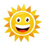 Smiling Sun. Vector illustration on white Royalty Free Stock Photography