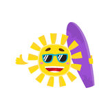 Smiling sun wearing sunglasses and holding surf board, vector illustration Stock Photo