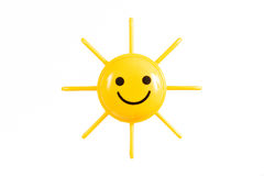 Smiling Sun on a White Backgroud Stock Photography