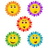 Smiling sunflower. Very cute smiling sunflower icons Stock Illustration