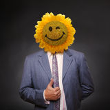 Smiling sunflower head man in suit coat Stock Image
