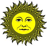 Smiling sunshine icon illustration Stock Photo