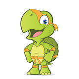 Smiling superhero turtle. Clipart picture of a superhero turtle cartoon character Stock Photos