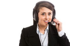 Smiling support operator with headset. Isolated Stock Image