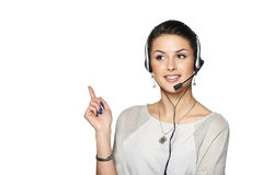 Smiling support phone operator in headset Stock Photos