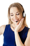 Smiling support phone operator Stock Images