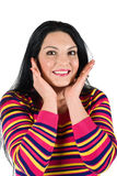 Smiling surprised woman royalty free stock images
