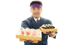 Smiling sushi chef Stock Photos