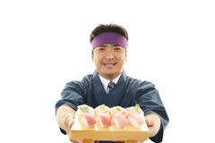 Smiling sushi chef Royalty Free Stock Images