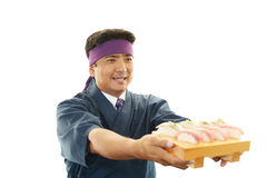 Smiling sushi chef Royalty Free Stock Image