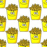 Smiling takeaway French fries seamless Royalty Free Stock Photos