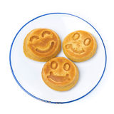 Smiling tasty corn pancake, top view, isolated Stock Photos