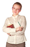 Smiling teacher with book and pen Stock Photos