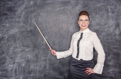 Smiling teacher with pointer Royalty Free Stock Photography