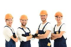 Smiling team of construction workers . Stock Image