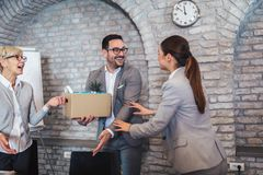 Team leader executive introducing new just hired female employee to colleagues stock photo
