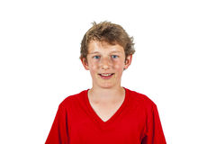 Smiling teen boy isolated on white stock image