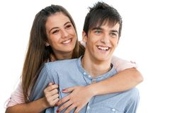 Smiling teen couple isolated. Royalty Free Stock Photo
