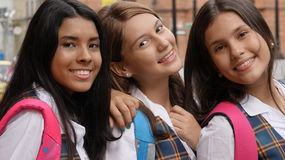 Smiling Teen Female Students Stock Images