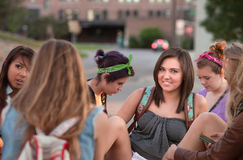 Smiling Teen With Friends on Campus Royalty Free Stock Images