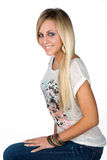 Smiling teen girl. Teen girl with blond hair Royalty Free Stock Photos