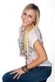 Smiling teen girl. Teen girl with blond hair Royalty Free Stock Images